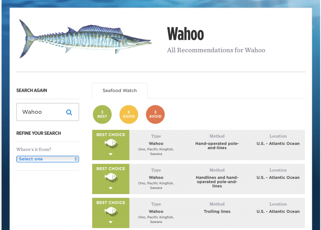 abóbora refogada - recomendação de pescado do Seafood Watch